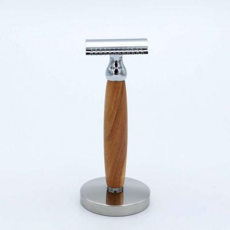 Rasoir de Sûreté en Bois de Cade avec Support - Gentleman Barbier