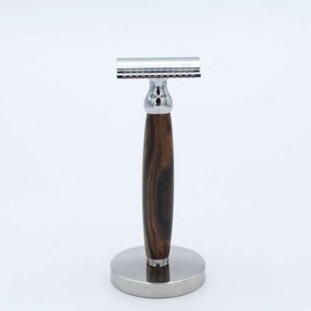 Rasoir de Sûreté en Ronce de Noyer avec Support - Gentleman Barbier
