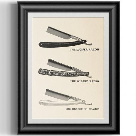 """Affiche Style Vintage """"3 Coupe-Choux"""" pour Barbershop"""
