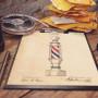 """Affiche Style Vintage Brevet d'un """"Barber Pole"""" pour Barbershop"""
