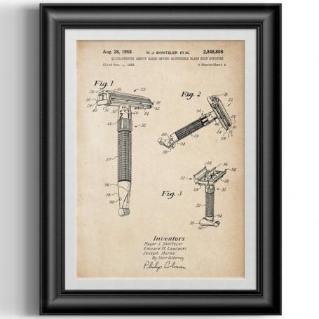 """Affiche Style Vintage Brevet du """"Gillette Toggle"""" pour Barbershop"""