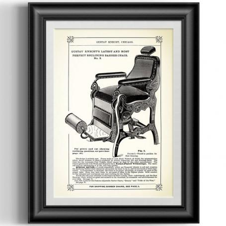 """Affiche Style Vintage """"Fauteuil de Barbier"""" pour Barbershop"""