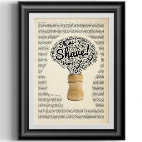 """Affiche Style Vintage Typographique """"Shave"""" pour Barbershop"""