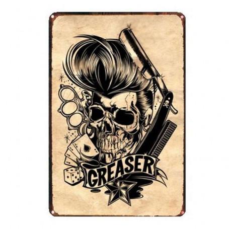 """Plaque Émaillée pour Barbershop """"Greaser"""""""