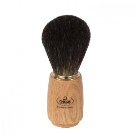 """Blaireau de Rasage """"Pure Badger"""" en bois clair - Omega"""
