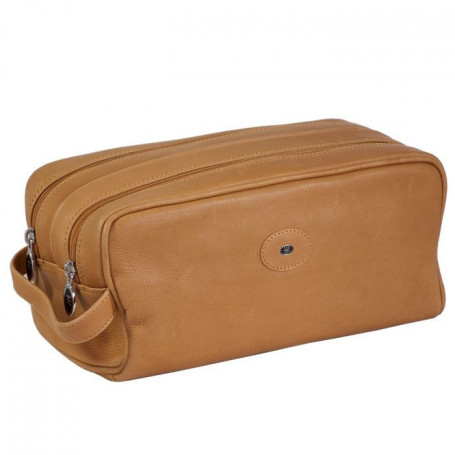 Trousse de Toilette en Cuir Souple Naturel HK Double Zip