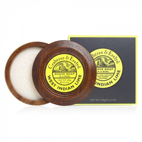 "Savon de rasage ""West Indian Lime"" et son bol en bois - Crabtree & Evelyn"