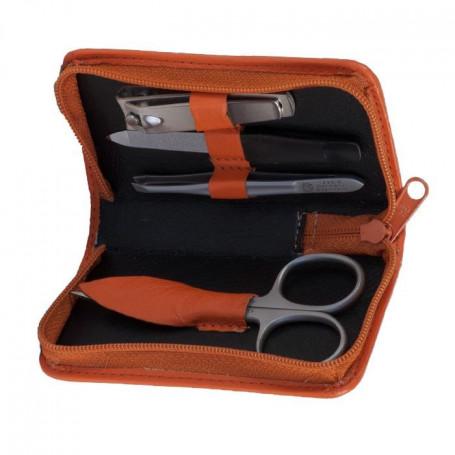 Trousse Manucure 4 pièces Inox en Cuir Orange - Hans Kniebes