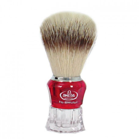 "Blaireau de Rasage ""Synthétique Hi Brush"" Rouge - Omega"