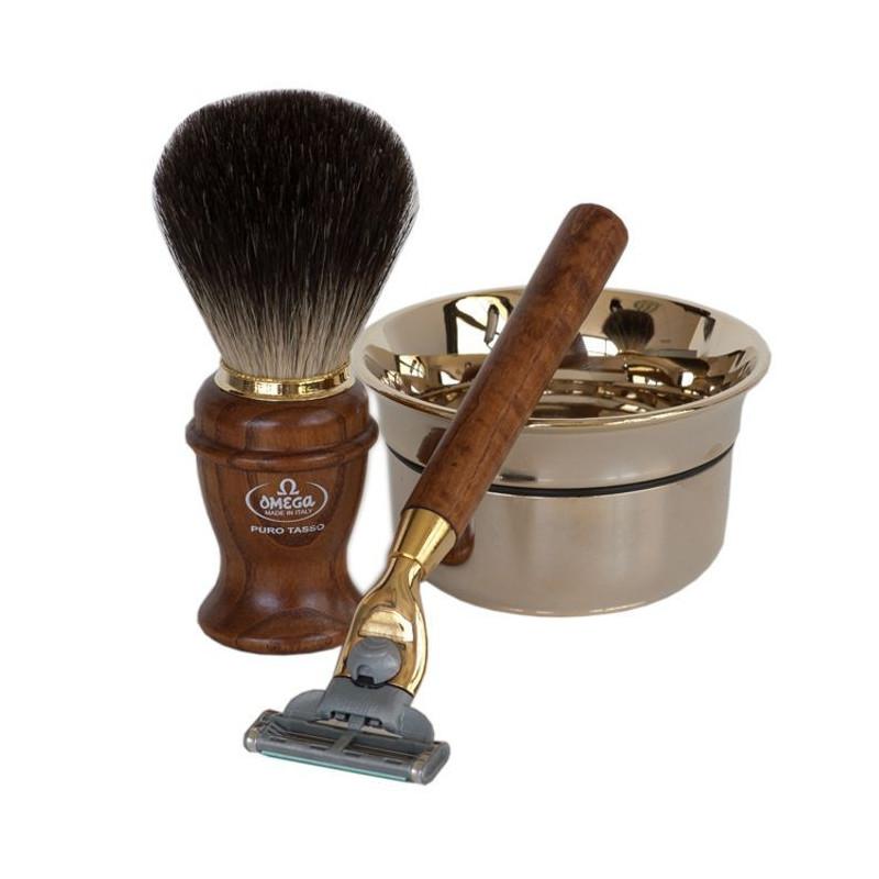 coffret cadeau de rasage pour homme avec rasoir mach3 omega italie. Black Bedroom Furniture Sets. Home Design Ideas