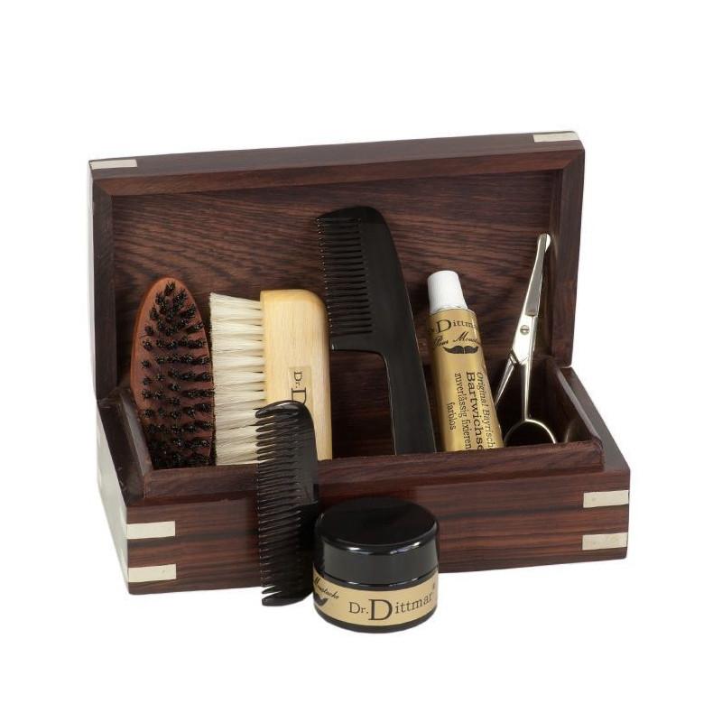coffret cadeau barbe moustache dr dittmar 39 de luxe 39 en bois rasage classique. Black Bedroom Furniture Sets. Home Design Ideas