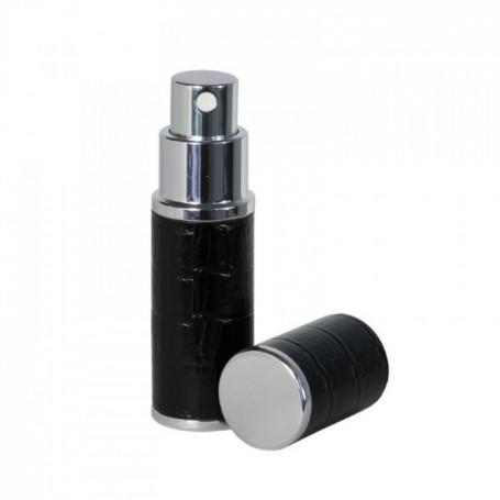 Flacon Atomiseur Parfum de Voyage Recouvert de Cuir Noir 8ml