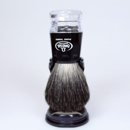 Blaireau de Rasage Noir et Transparent - Omega 63181