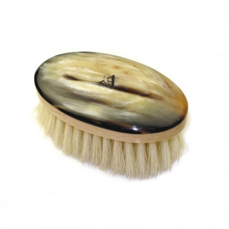 Brosse à Moustache Ovale en Bois et Corne Véritable - Abbeyhorn