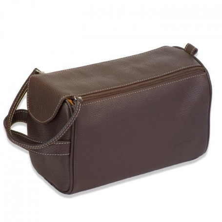 Trousse de toilette en cuir marron double zip - Gerard Henon