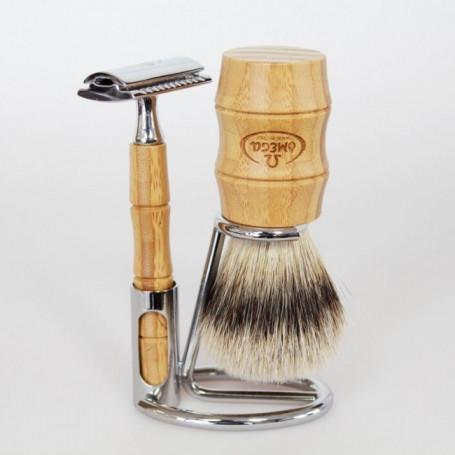 Set de Rasage en Bambou avec Rasoir de Sûreté - Omega