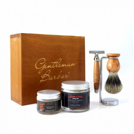 Coffret de Rasage avec Rasoir de Sûreté en Cade - Gentleman Barbier