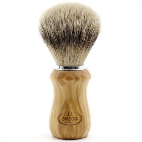 Blaireau de Rasage en bois clair avec support - Omega